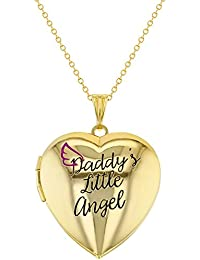 Gold Tone Photo Locket Heart Daddy's Little Angel Girls Pendant Necklace 41cm