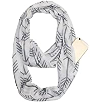 Womens Infinity Scarf Wrap Scarf with Hidden Zipper Pocket Arrow Pattern, Convertible Infinity Lightweight Travel Scarves