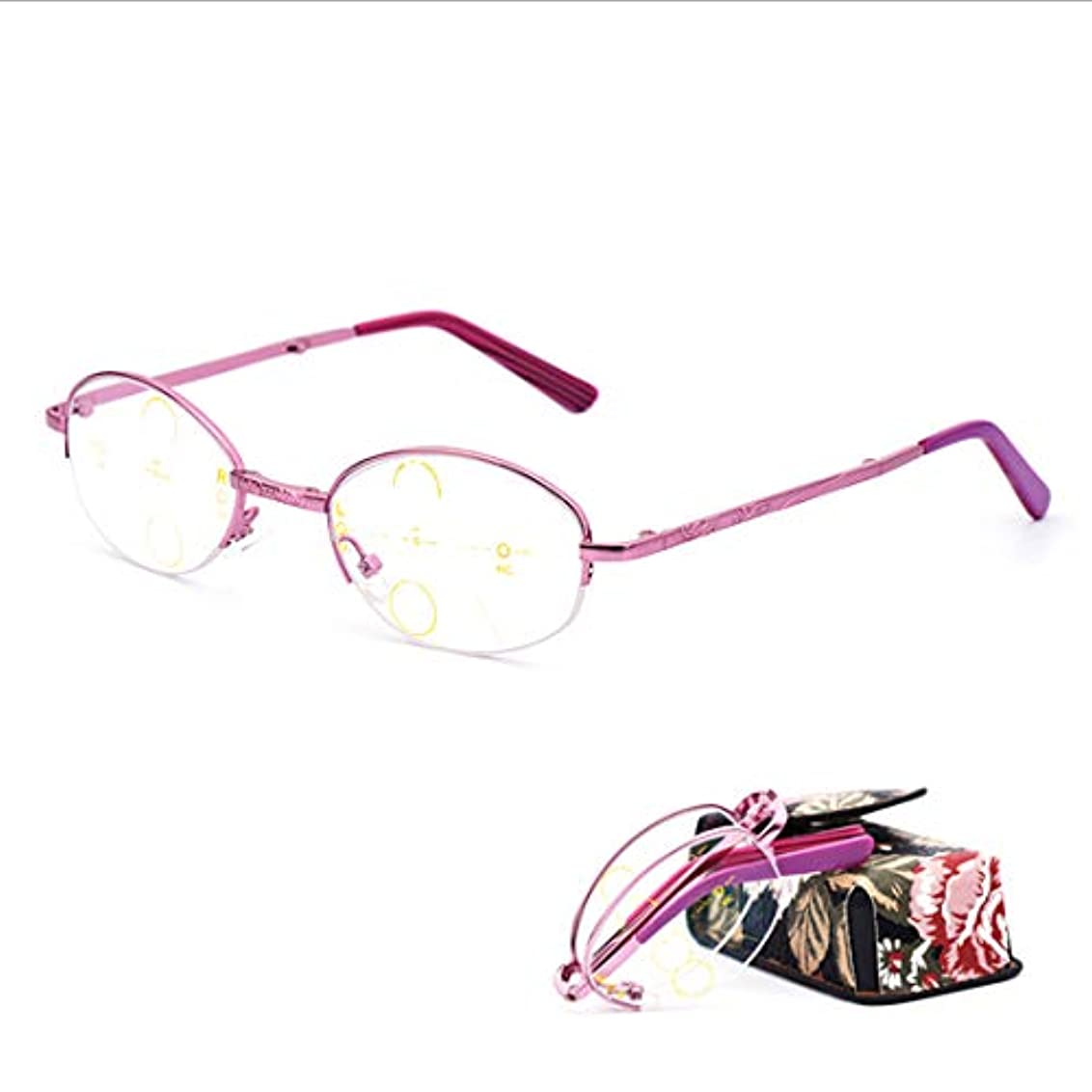 折りたたみ式携帯用老眼鏡、遠近両用プログレッシブマルチフォーカス、インテリジェントオートズーム、ファッションレディースメガネ