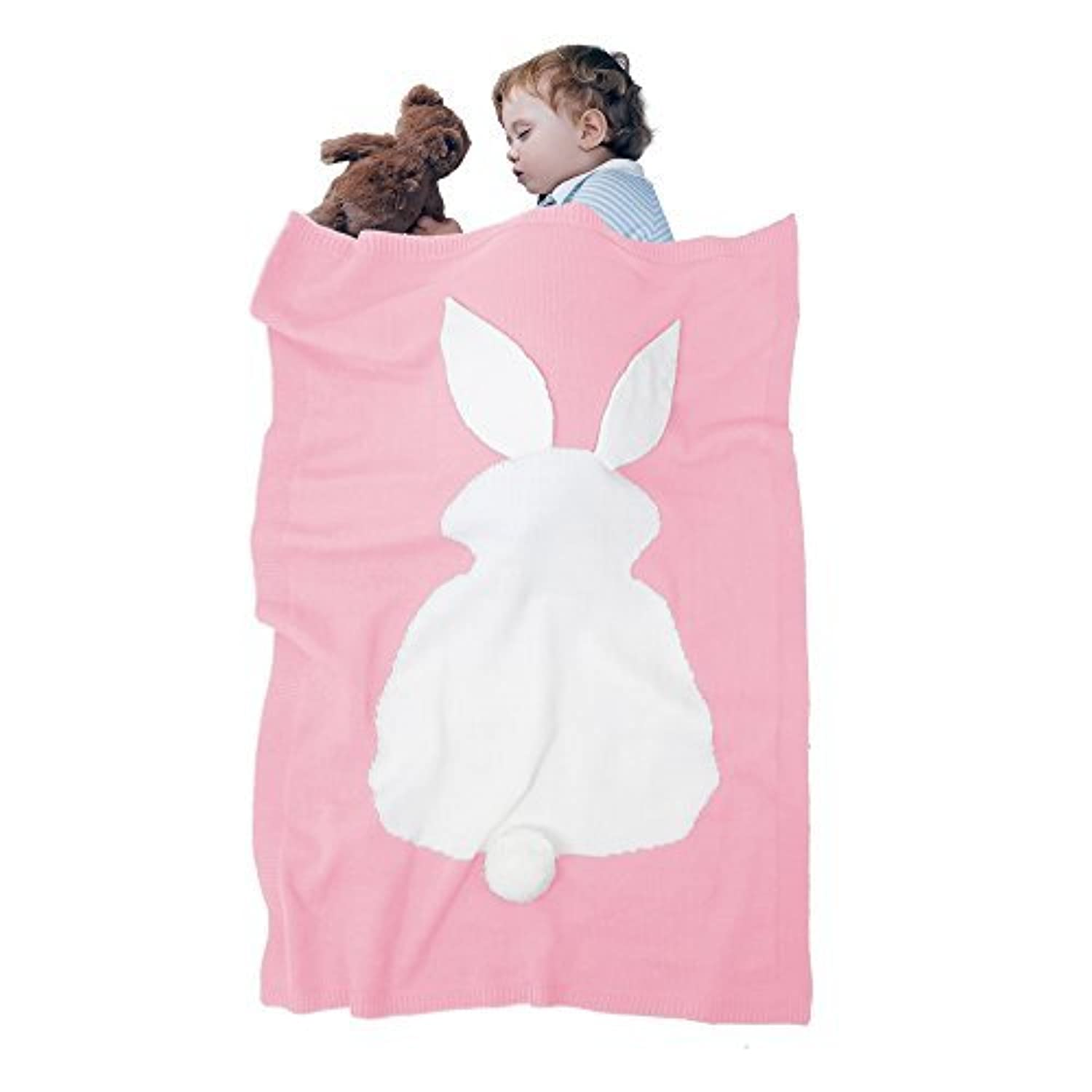 Baby Blankets,Amyhomie rabbit blanket,Baby Kids Cute Blanket Wrap Swaddle,Lovely Rabbit Soft Warm Toddler Blankets with Rabbit Ears &Tails (Pink) [並行輸入品]