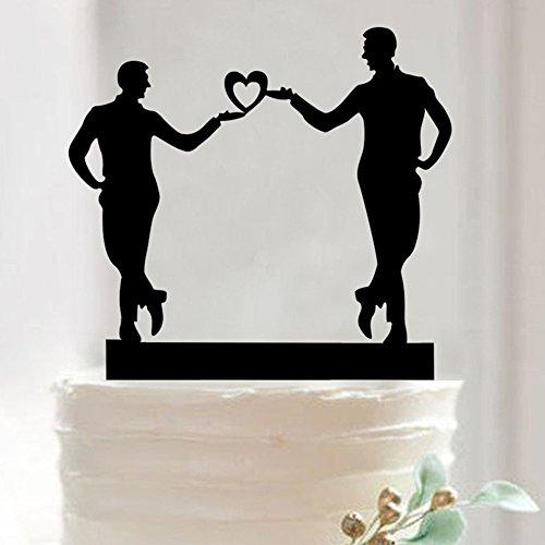 Mrと同じSex Mr Gayシルエットモノグラムウェディング誕生日ケーキトッパー