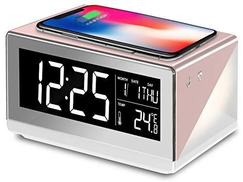 【2019年 アデッソ ワイヤレスチャージングクロック デジタル時計 温度/日時表示 ワイヤレス充電(Qi規格) 対応 iPhone/Android アラーム スヌーズ ベッドランプ付き(間接照明) 置き時計 QA-02RG(ローズゴールド)