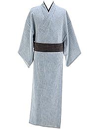 デニム着物 メンズ シャンブレー 木綿着物 単衣 綿100% No.16 ブルー 縞