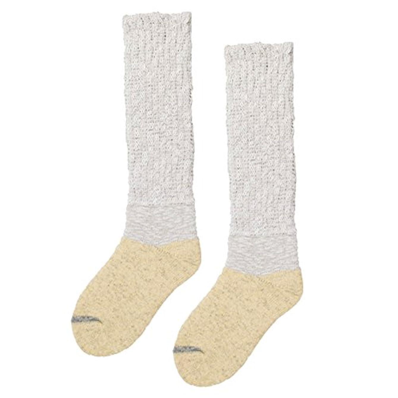 文化一過性スラッシュ砂山靴下 Carelance(ケアランス) お風呂上りの靴下 膝下 8592CA-80 ベージュ