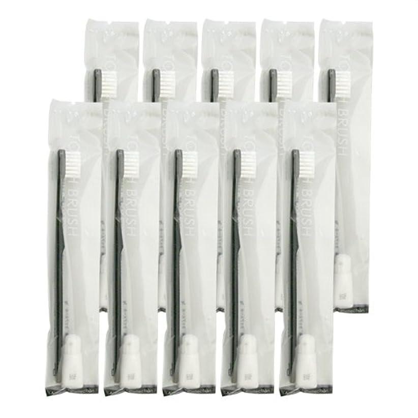 スペースピルファー血まみれの業務用 使い捨て歯ブラシ チューブ歯磨き粉(3g)付き ブラック 10本セット│ホテルアメニティ 個包装タイプ