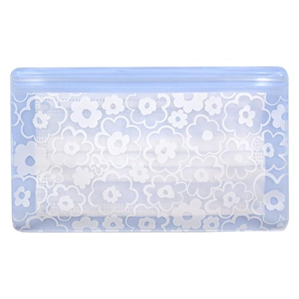 安価な苦味から抗菌マスクケース Wポケット 花柄ブルー
