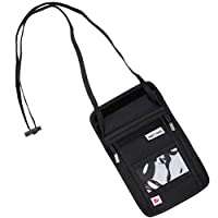 SmartTravel パスポートケース 首下げ スキミング防止 パスポート ポーチ (1. ブラック(両側ファスナー))