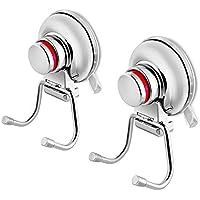 MANGO S 独特の吸盤フック - パワフルなバスルームキッチン多機能フックハンガー 赤いアラーム信号付き タオル、バスローブ、コート、ルーファ用 (2個パック)