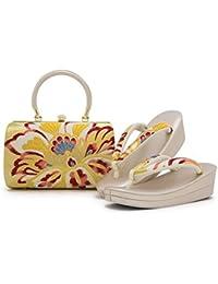 草履バッグセット 金 ゴールド 赤 花唐草 正絹帯地 二枚芯 成人式 振袖向き フォーマル 日本製 フリーサイズ