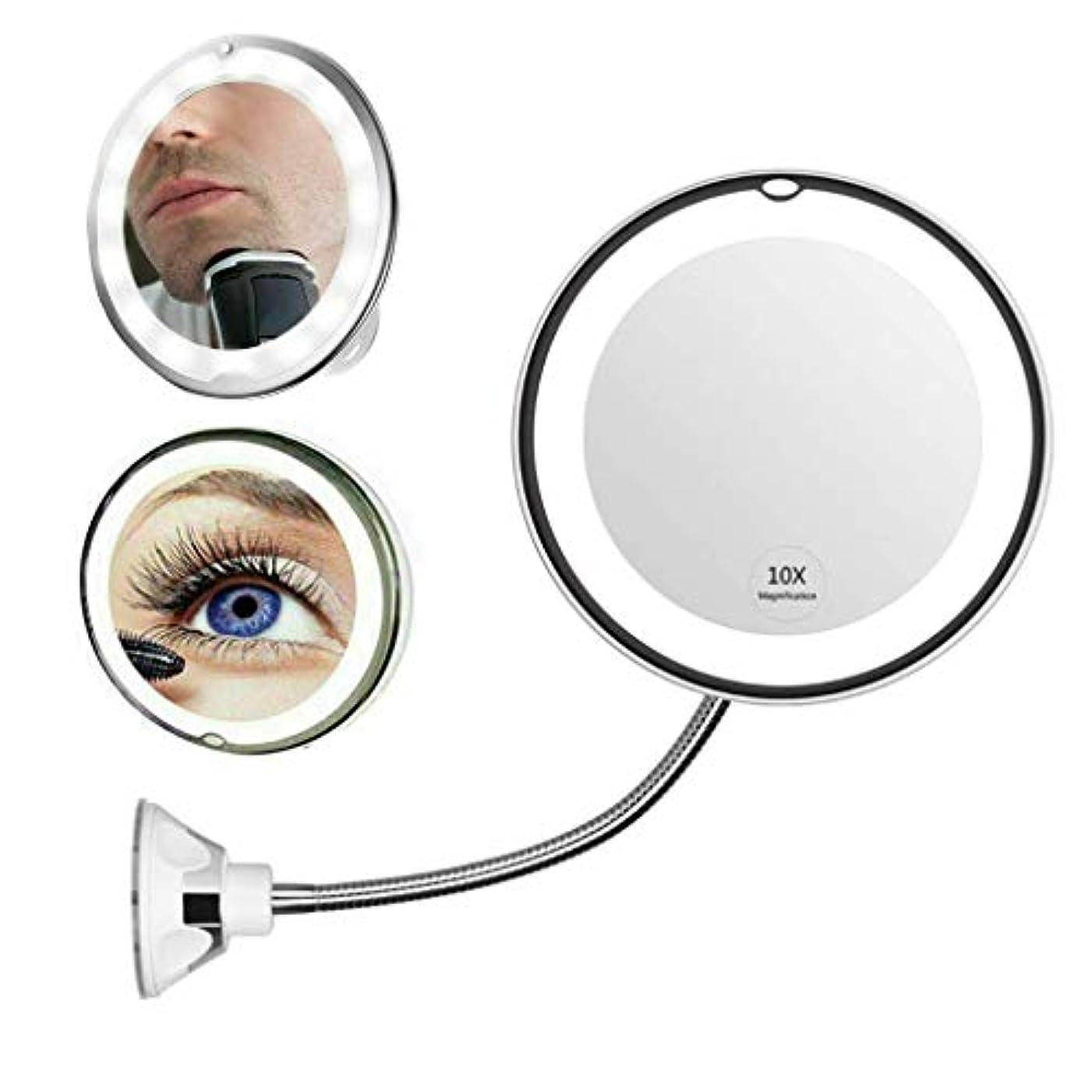 病者光沢指紋Vanity Mirror 10X拡大化粧鏡LED照明付き化粧鏡フィルライトナイトランプ、360°スイベル&ホームシャワー用サクションカップバスルーム