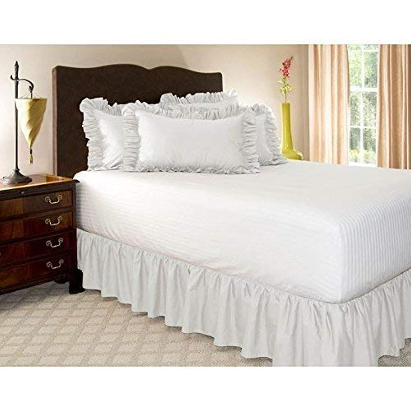 縞模様の紳士反対にDEWEL ベッドスカート シングル フリル ラップアラウンドスタイル 簡単フィット 伸縮ベッドラッフル シンプル 無地 ホワイト (シングル, 1)
