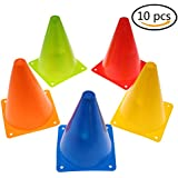 Training Cones for Kid Adult Sports Set of 10 Training Traffic Cones 7 Inch Multipurpose Football Cones for Outdoor and Indoor Gaming and Festive Events