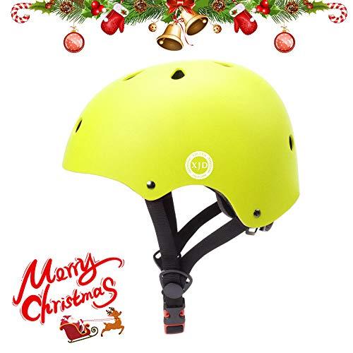 XJD ヘルメット こども用 自転車 ヘルメット キッズ 子供 幼児 軽量 通気性 スポーツヘルメット サイクリング 通学 スキー スケートボード 保護用ヘルメット (イエロー, S(48cm-54cm))