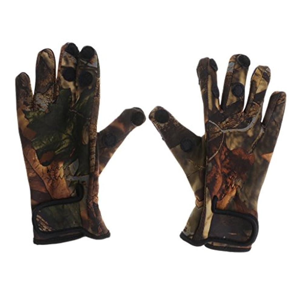 広く飼いならす離れたBaoblade Baoblaze 3サイズ 1ペア 手袋 グローブ 3本指出し 釣り 狩猟 乗馬 サイクリング 速乾性 通気性 調整可能 屋外 - カモ, L