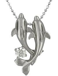 [ハワイアン シルバー ジュエリー] Hawaiian Silver Jewelry ダブル ドルフィン ネックレス ジルコニア付き ロジウム加工 シルバー925 [インポート]