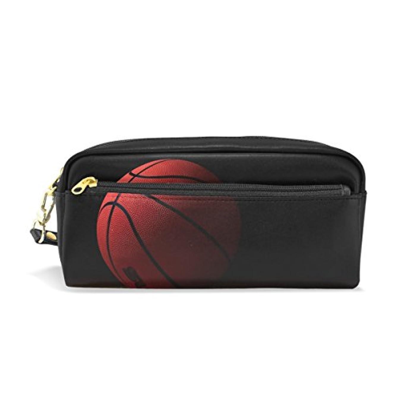 年金閲覧する不注意AOMOKI ペンケース 化粧ポーチ 小物入り 多機能バッグ レディース バスケットボール ブラック