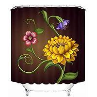 浴室のシャワーカーテン 世帯の浴室の仕切りのカーテン、浴室のカーテン3Dのti - ホックが付いている型を厚くする防水ポリエステル浴室のシャワーのカーテン (Color : 180*200cm)