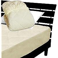 一体型 ベッドパッド ボックスシーツ を一体にした新商品 毛布生地で製造 メーカー直販 とろけるような肌触りふわふわ 一体型ボックスシーツ ダブル 140×200×30cm アイボリー