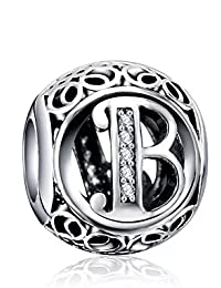 26 Letter Initial Character 925 Sterling Silver Bead Charm fit Pandora Chamilia Bracelet Necklace Jewlery (Letter B)
