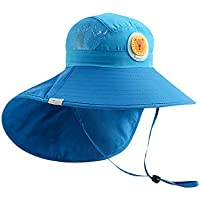 OZ SMART™ Kids Sun Hat, UPF 50 +, UV Protection Front and Rear Extended Wide Brim with Neck Flap Chin-Strap Adjustable for Boy/Girl