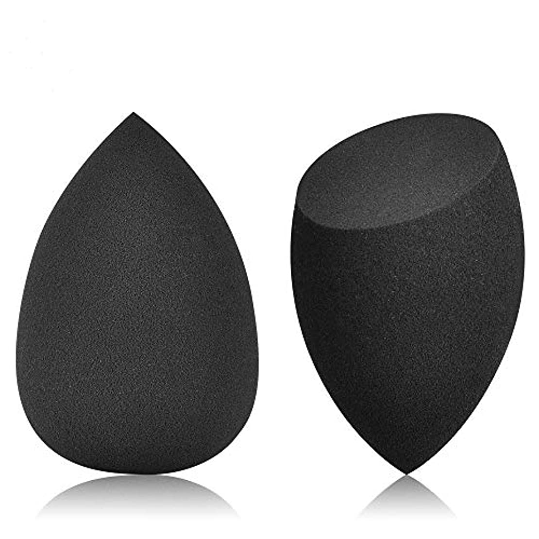 (JOLIK)メイクスポンジ 化粧用 多機能パフ 乾湿兼用 親水 涙型&ドロップ切断型 2個セット収納ボックス付き ブラック