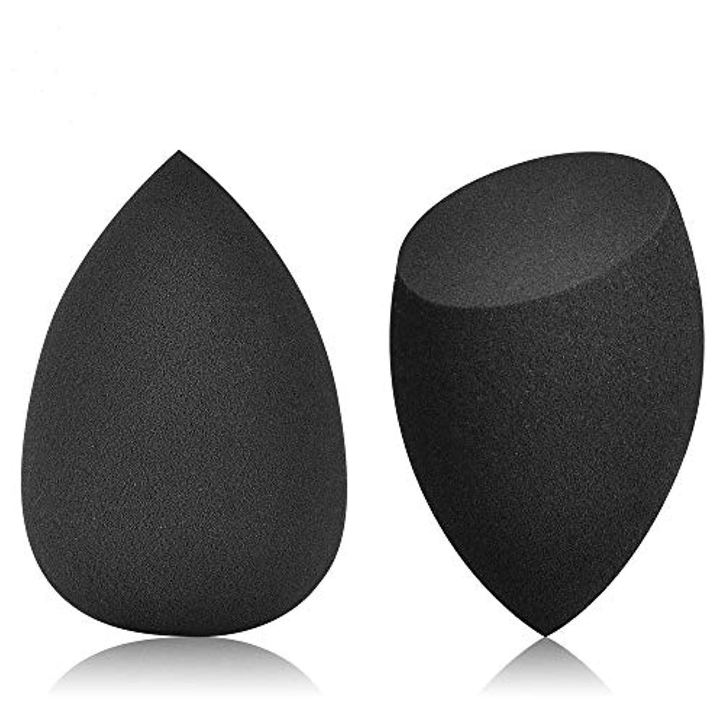 リビングルームせせらぎサーマル(JOLIK)メイクスポンジ 化粧用 多機能パフ 乾湿兼用 親水 涙型&ドロップ切断型 2個セット収納ボックス付き ブラック