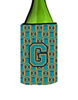 レターG Footballアクア、オレンジとMarineブルーワインボトル飲料Insulator Hugger cj1063-gliterk
