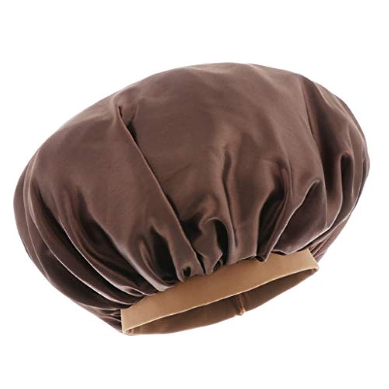 誇りに思う隠す灰シャワーキャップ 入浴キャップ 美容 キャップ 帽子 ヘッドカバー サテン 家事 SPA 全6色 - コーヒー