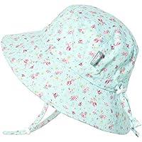 JAN & JUL Kids Cotton Bucket Sun-Hat, 50+UPF Protection, Adjustable Strap, Baby Toddler Girls - - M: 6-24m