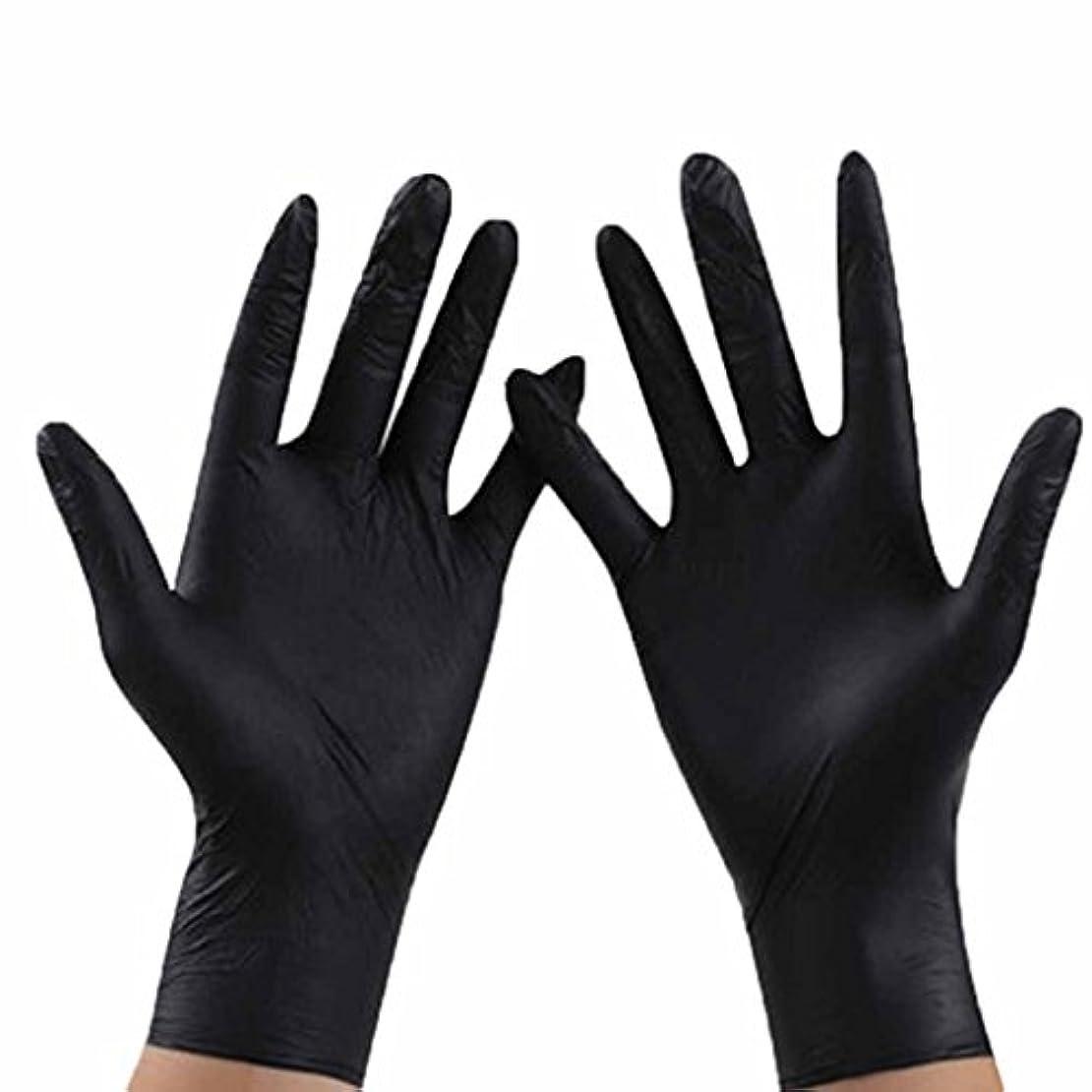 鉱石エイリアス方程式使い捨て手袋 ブラックニトリル通気性使い捨て手袋防水防汚環境保護手袋 (Size : M)