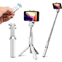 【Humixx】自撮り棒 セルカ棒 三脚&分離可能 ワイヤレスリモコンシャッター 360度回転 iPhone/Android対応 (ホワイト)