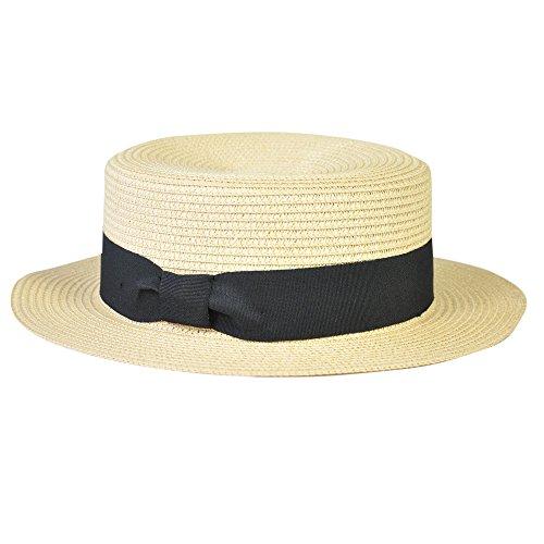 (ブレイク)Blake カンカン帽 【レトロ ペーパーハット ペーパーカンカン帽 リボン帽子 クラシカル ブレード 中折れ帽】 メンズ レディース 男女兼用 (ベージュ/ブラック)
