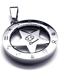 [テメゴ ジュエリー]TEMEGO Jewelry メンズステンレススチールヴィンテージゾディアックペンダント回転可能ながんネックレス、シルバー[インポート]