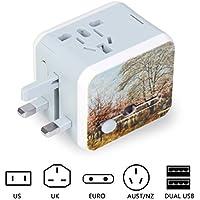 uvistare 旅行充電器 変換プラグ 海外旅行用 コンセント 旅行プラグ 100-240V 2USBポート付 チャージャー変換プラグ 160か国以上で通用 出張便利
