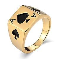 Adisaer 1.3CM メンズ パンク バイク ステレンス 指輪 長方形ポーカースペードA ゴールド 婚約指輪 結婚式 父親や彼氏への贈り物ー 26