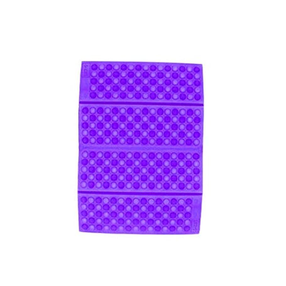起点遮る前者ポータブルXPE防湿ハニカムクッションパープル-パープル