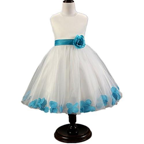 (ケイヨウ) JinYangガールズ 子供服 発表会 結婚式 二次会 花びら ふわふわ ワンピース プリンセス フォーマル ドレス ブルー 140