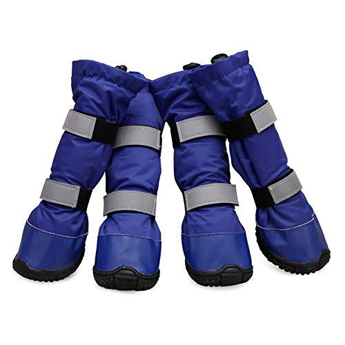 犬靴 ドッグシューズ 防水ブーツ レインシューズ 雨靴 滑り止め 肉球保護 保温 防寒 中型犬 大型犬 4足セット