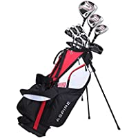 Aspire XD1 メンズコンプリートゴルフクラブパッケージセットには、次のものが含まれます。チタンドライバー、S.S.フェアウェイ、S.S.ハイブリッド、S.S. 6 PWアイアン、パター、スタンドバッグ、ヘッドカバー(3つ、右利き用)