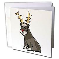 All Smiles Art Christmas - かわいいファニーシュナウザー犬 トナカイの角のクリスマス付き - グリーティングカード Individual Greeting Card