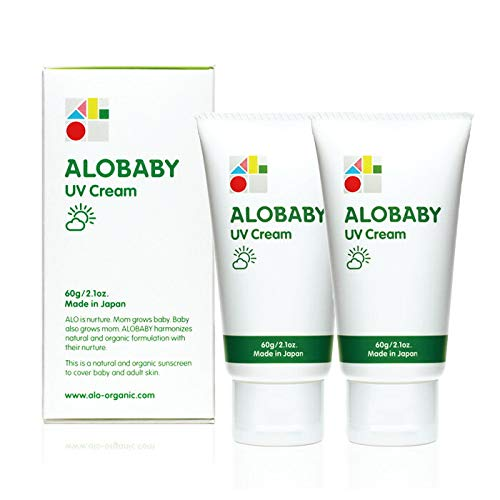 アロベビー UVクリーム 60g (2本) 日焼け止め 赤ちゃん こども用 新生児 0歳 低刺激 ノンケミカル ベビー スキンケア せっけん不要 お湯で落とせる 天然由来 紫外線吸収剤不使用 無添加 オーガニック 国産 alobaby