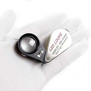 宝石鑑定 貴金属鑑定 拡大鏡 メタルホルダー ミニ ルーペ 手持ち 10倍 高倍率 工業用計測器 産業 研究開発用品 拡大鏡 虫眼鏡 光学グレードのレンズ 带LED照明