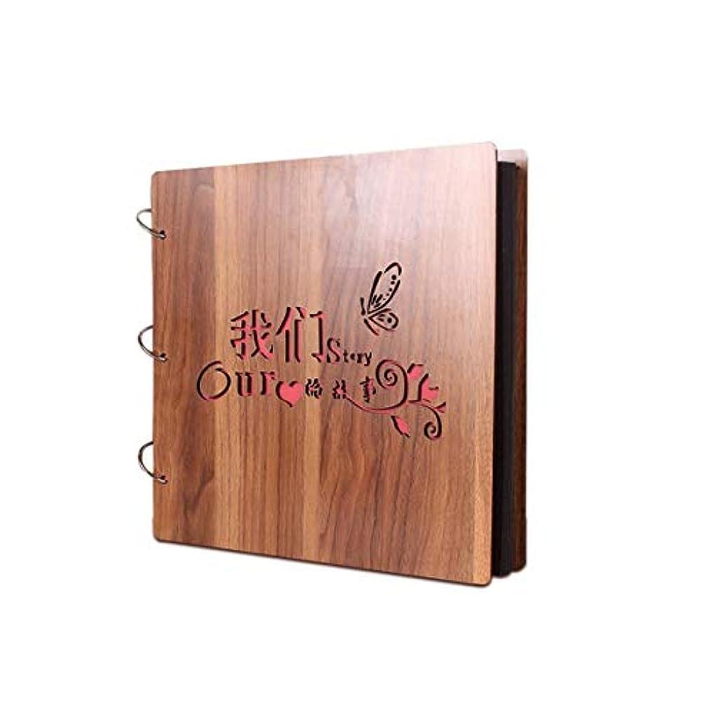 二年生検出可能囲むYZT 手作りDIY木製のカバーアルバム、創造的な贈り物を印刷するスクラップブックヴィンテージアルバム足跡 (Color : A, Size : 29*29cm)