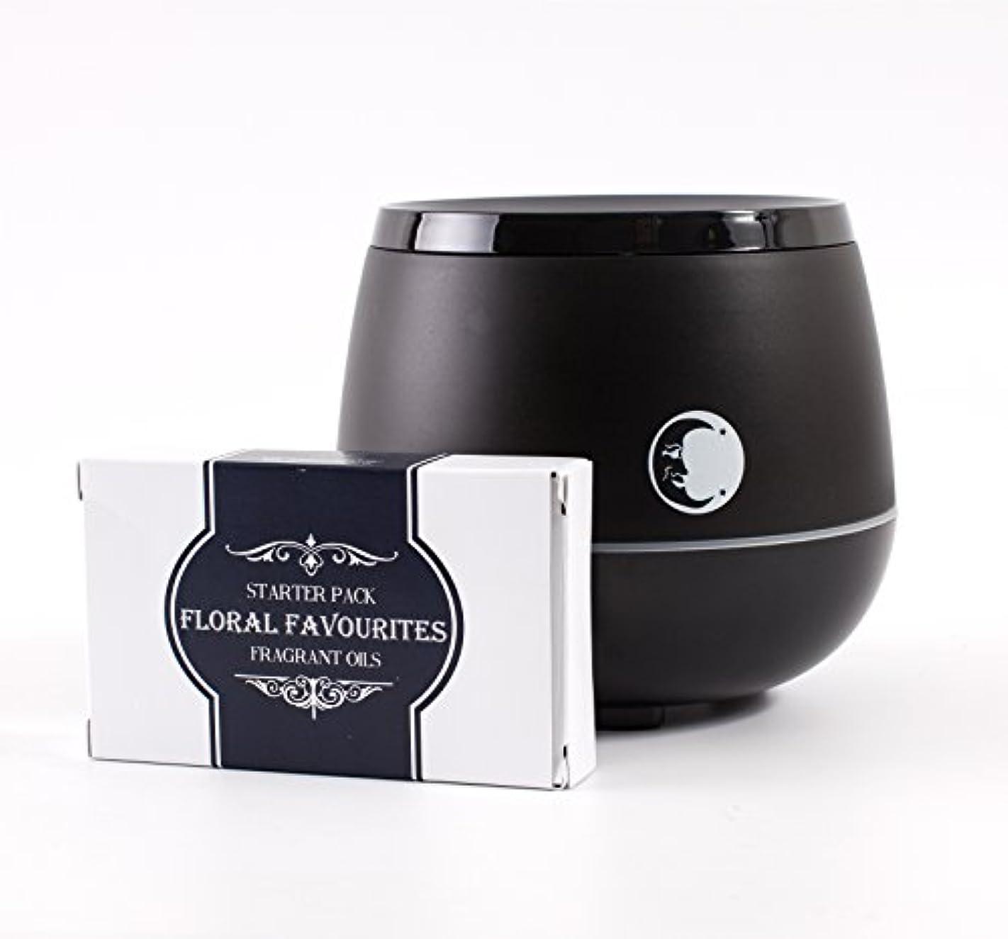 つかいますステップ暖炉Mystic Moments   Black Aromatherapy Oil Ultrasonic Diffuser With Bluetooth Speaker & LED Lights + Floral Favourite...