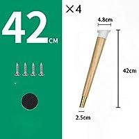 無垢材の家具の脚、4ピース、高荷重ベアリングソファフィートテレビキャビネットフィートサポート脚、ネジ付き北欧デザイン、高さ42/60 / 73 cm選択(A 42CM)