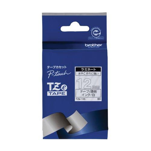 ブラザー工業 TZeテープ ラミネートテープ(透明地/白字) 12mm TZe-135