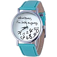"""Halau Hot Women Funny Leather Strap Watch """"Whatever I am Late Anyway""""Letter Wristwatch"""