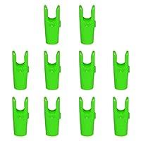 ノーブランド品  全4色 10個入り プラスチック製 アーチェリー 狩猟用 矢頭 矢印ノック アローエンド - 緑