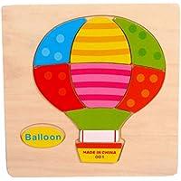 Gbell 木製パズルセット 幼稚園幼児用 かわいい動物フルーツ ジグソーボード 教育玩具 ギフト 1~3歳の女の子 男の子 子供用 ロケット 蝶 飛行機 チェリーバルーン ネズミ パイナップル