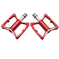 バイクペダルマウンテンバイクペダル9/16インチ自転車ペダルアルミ合金自転車ペダル3ベアリングウルトラシールドベアリングプラットフォーム用MTB BMXロード,Red